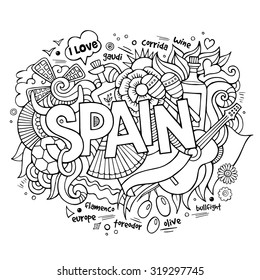 Spain country hand lettering and doodles elements and symbols background. Vector hand drawn sketchy illustration