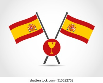 Spain Crossed Flag Emblem Fragile