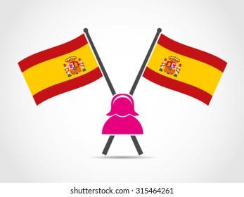 Spain Crossed Flag Emblem Woman