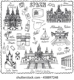 Spain Doodle landmarks.Vector famous architectural symbols,hand drawn travel sketch.Vector vacation icon,sign,Spanish historical monument,lettering.Spain,Europe Vintage Illustration,background.Retro