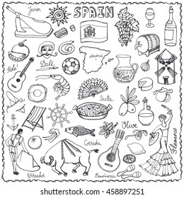 Spain doodles elements,icon.Vector Hand drawn doodle set,spanish food paella,olives,grape,wine,guitars,flamenco,dresses,bull,flag and map, lettering.Travel sketch,Spanish doodle set,symbols.Outline
