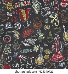 Spain doodles seamless pattern,elements,icon.Vector Hand drawn doodles.Spanish food paella,olives,grape,wine,guitars,flamenco,dresses,bull,map,lettering.Travel sketch,Spanish doodle,symbols.Blackboard