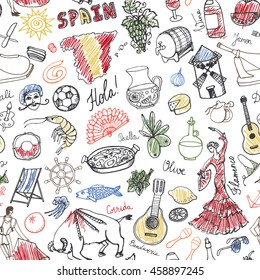 Spain doodles seamless pattern,elements,icon.Vector Hand drawn doodle set