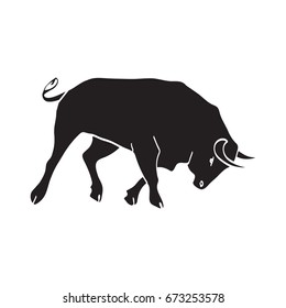 Spain festival. Bull isolated vector illustration for design. Bulls logo Print