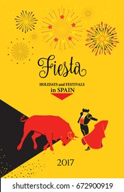Spain fiestas or festivals abstract poster. Spanish San Fermin Festivals, wallpaper. Running of the bulls, attraction in this famous celebration, Pamplona fiesta. Vector illustration Bull and Toreador