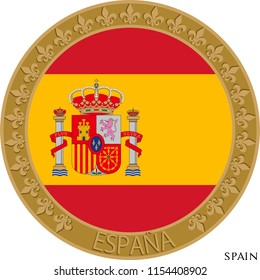 Spain flag badge. Wall decoration, icon, wall table, plate pattern, rosette, profile picture is used.