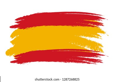 Spain flag. Brush painted Spain flag Hand drawn style illustration with a grunge effect and watercolor. Spain flag with grunge texture. Vector illustration.