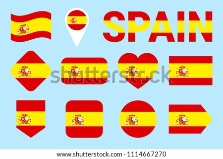 spain flag collection spanish flags set stock vector royalty free