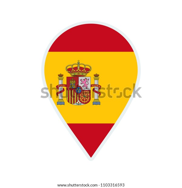Spain flag icon. Travel icon. Travel destination of Spain. Spain badge. Flag badge.