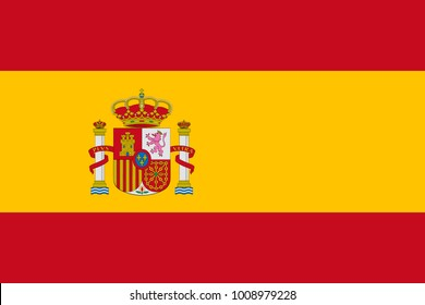 Spain flag with official colors and the aspect ratio of 2:3. Flat vector illustration.