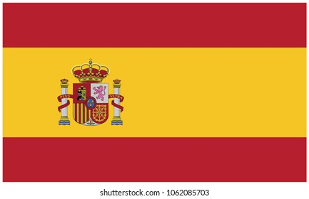 Spain flag, official colors and proportion correctly. National Spain flag. Vector illustration. EPS10