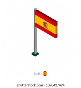Spain Flag on Flagpole in Isometric dimension. Isometric blue background. Vector illustration.