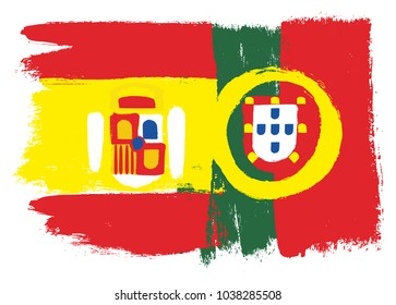 Spain Flag & Portugal Flag Vector Hand Painted with Rounded Brush