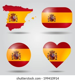 Spain flag set in map, oval, circular and heart shape.