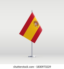 Spain flag state symbol isolated on background national banner. Greeting card National Independence Day of the Kingdom of Spain. Illustration banner with realistic state flag.