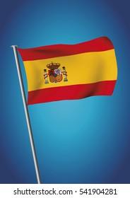 Spain flag waving on the sky. Vector illustration. gradient mesh. EPS 10