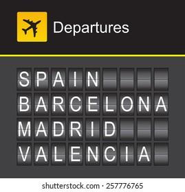 Spain flip alphabet airport departures, Spain, Barcelona, Madrid, Valencia
