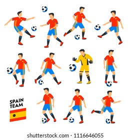 Spain football team. Spain soccer players. Full Football team, 11 players. Spanish Soccer players on different positions playing football. Colorful flat style illustration. Football cup. Vector