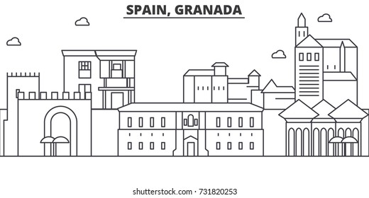 Spain, Granada architecture line skyline illustration. Linear vector cityscape with famous landmarks, city sights, design icons. Landscape with editable strokes