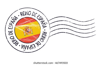 Spain grunge postal stamp and flag on white background