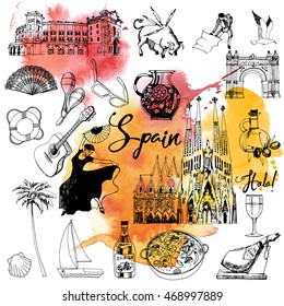 Spain. Hand drawing vector set of Spain. Watercolor texture