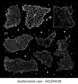 Spain, Hungary, Egypt, Turkey, United Arab Emirates,United Kingdom, Korea, Belgium, constellation maps