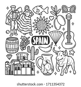 Spain Icons Hand Drawn Doodle Coloring Vector