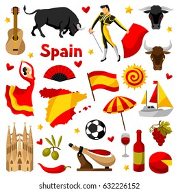 Spain icons set. Spanish traditional symbols and objects.