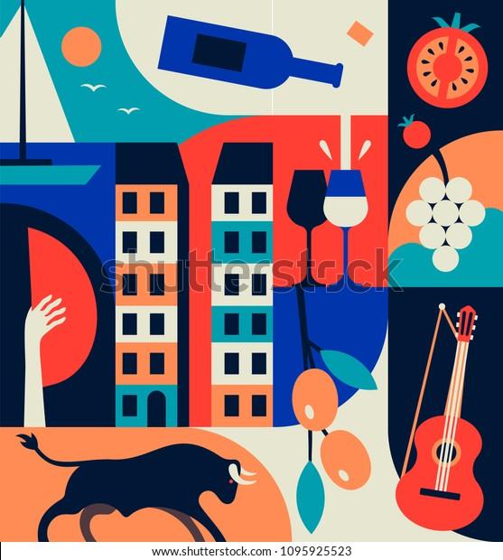 Испания набор иконок. Испанские традиционные символы и предметы. Векторная плоская иллюстрация.? цветный узор, летняя коллекция. Бык, оливки, гитара, виноград, помидоры, вино, корабль в море, фламенко.