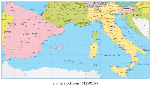 Map Of Spain Italy.Detailed Italy Political Map Stock Vector Royalty Free 745140946