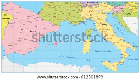Spain Italy Map Vector Illustration Stock Vector Royalty Free