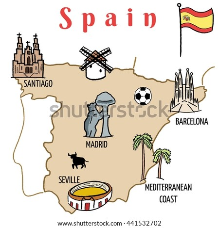 Map Of Spain Showing Seville.Spain Landmarks Map Cute Doodle Vector Stock Vector Royalty Free