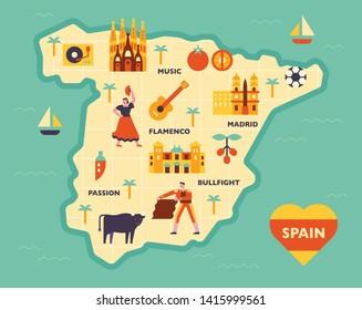 Map Of Spain Landmarks.Spain Map Cartoon Images Stock Photos Vectors Shutterstock