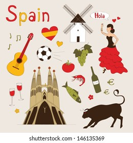 Spain - landmarks and symbols set