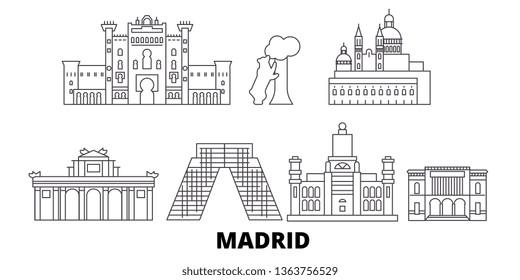 Spain, Madrid line travel skyline set. Spain, Madrid outline city vector illustration, symbol, travel sights, landmarks.