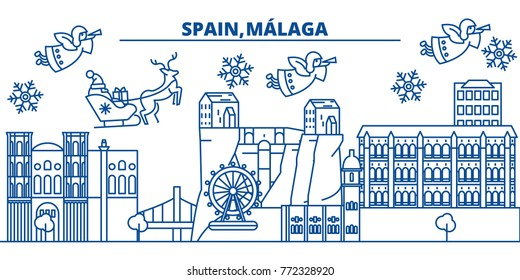 Spain, Malaga, Andalusia winter city skyline. Merry Christmas, Happy New Year decorated banner with Santa Claus.Winter greeting line card.Flat, outline vector.Linear christmas snow illustration