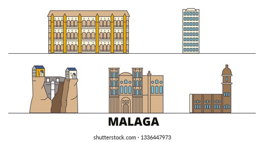 Spain, Malaga flat landmarks vector illustration. Spain, Malaga line city with famous travel sights, skyline, design.