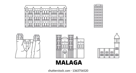 Spain, Malaga line travel skyline set. Spain, Malaga outline city vector illustration, symbol, travel sights, landmarks.