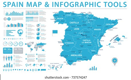 Spain Map - Detailed Info Graphic Vector Illustration
