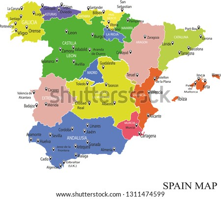 Spain Map Of Provinces.Spain Map Drawing Map Spain Regions Stock Vector Royalty Free