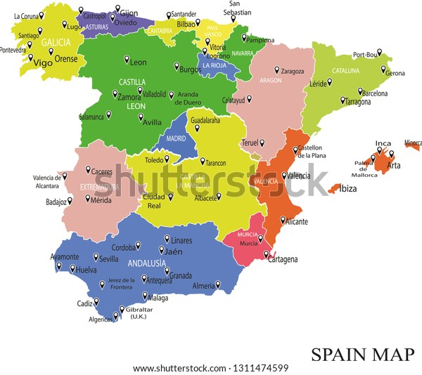 Map Of Spain With Regions.Spain Map Drawing Map Spain Regions Stock Vector Royalty Free