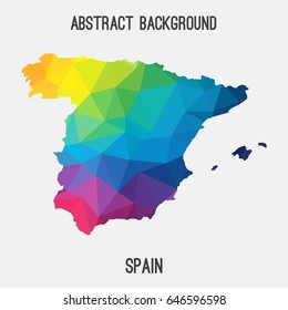 Spain map in geometric polygonal,mosaic style in rainbow colors.Abstract tessellation,modern design background,low poly. Vector illustration.