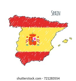 Spain map hand drawn sketch. Vector flag, children's drawing.