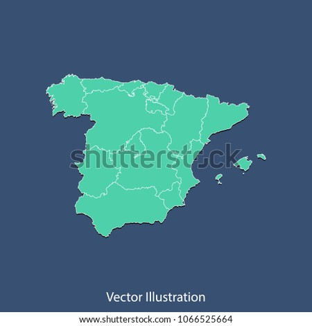 Map Of Spain To Color.Spain Map High Detailed Color Map Stock Vector Royalty Free