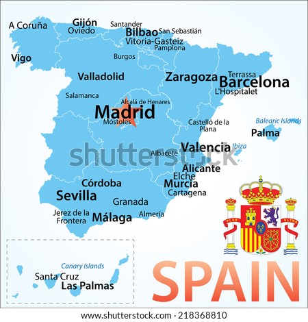 Spain Map Largest Cities Carefully Scaled Stock Vector Royalty Free