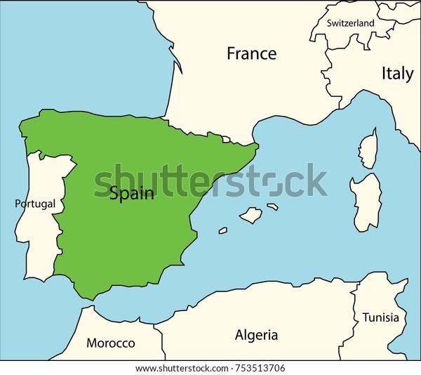 Map Of Spain And Surrounding Countries.Spain Map Neighboring Countries Stock Vector Royalty Free 753513706