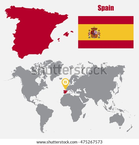 Spain Map Flag.Spain Map On World Map Flag Stock Vector Royalty Free 475267573
