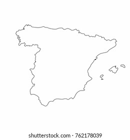 Spain map outline graphic freehand drawing on white background. Vector illustration
