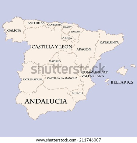 Spain Map Regions Names Stock Vector (Royalty Free) 211746007 ...