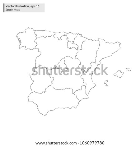 Spain Map Regions Vector Line Illustration Stock Vector (Royalty ...
